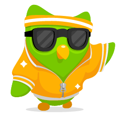 The duolingo owl is being cool.